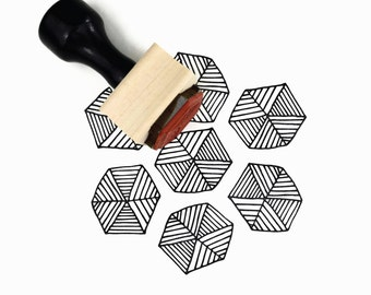 Rubber Stamp Hexagon Lines Hand Drawn Pattern - DIY Geometric Pattern Maker - Wood Mounted Stamp with Handle