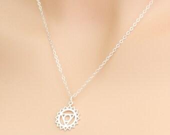 Chakra Necklace, Throat Chakra, Yoga Necklace, Yoga Jewelry, Fifth Chakra, Meditation Necklace, Sterling Silver, Yogi Pendant, Yoga Gift
