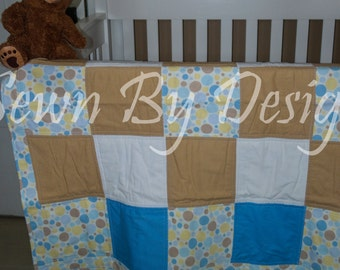Cotton and Flannel Baby Quilt and Changing Pad Cover Set