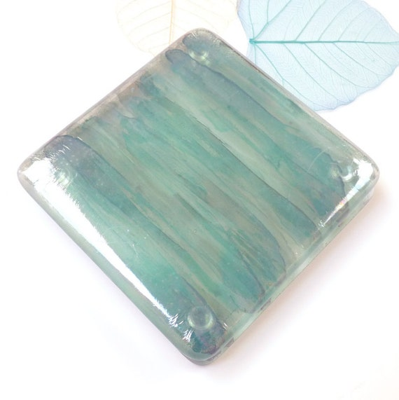 Glass Coasters 2 Handmade Fused Glass Drinks Mats Hand