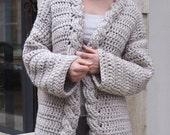 Crochet Pattern cable women cardigan, bulky coat ,  Very Winter sweater, DIY tutorial, Instant download