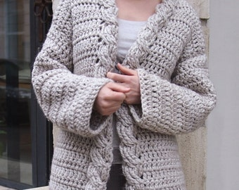 Crochet Pattern cable women cardigan, bulky coat ,  Very Winter sweater, DIY tutorial, Instant download