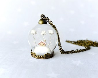 Winter Terrarium necklace Snow-covered landscape-Little house and white clouds-