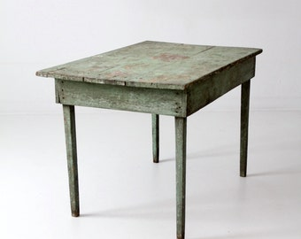 primitive kitchen table, antique painted country table