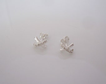 Pair of CZ CROSS X sterling silver stud earrings, girls, women's earrings