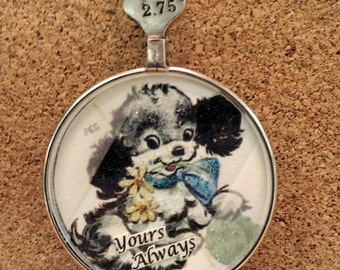 Vintage Handcrafted Pendant with Puppy