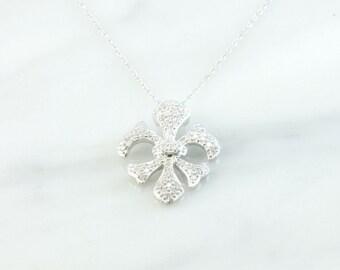Vintage Fleur De Lis Diamond Pave Pendant 14k White Gold 18 Inch Necklace