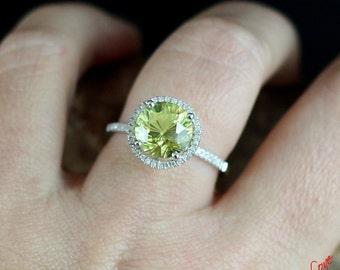 yellow sapphire diamond halo engagement ring round cut 3ct 9mm 14k 18k white yellow rose - Custom Made Wedding Rings