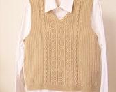 Cable Knit Vest, Hand Knit Vest, Brown Vest, Sweater Vest, Celtic Design Vest, Knitted Vest, Wool Vest, Fisherman Cable Vest
