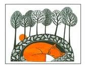Fox illustration nature print, Pen and Ink, 10 x 8, Illustration art, fox art, Graphic art, Fox print art, Orange Black, Tree art