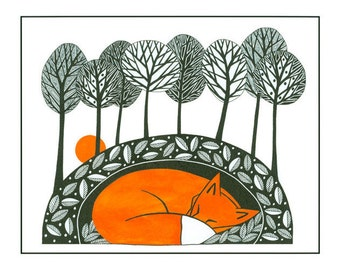 Fox illustration nature print, Pen and Ink, 10 x 8, Illustration art, fox art, Graphic art, Fox print art, Orange Black, Tree art