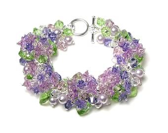 Lilac Flower Swarovski Crystal Cluster Silver Charm Bracelet, Spring Floral Jewelry, Romantic Purple Lilac Wedding Bracelet, Bridesmaid Gift