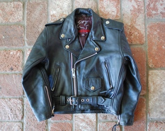 Vintage Youth Size 12 Mustang Black Leather Motorcycle Jacket Moto Hipster Kids Boys Kid Jacket Coat Gift Fashion Baby Biker Rider Goth Punk