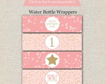 Twinkle Twinkle Little Star Water Bottle Labels Wrappers | Twinkle Twinkle Little Star Drink Labels | Twinkle Twinkle Little Star Birthday