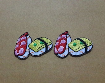 Set 2 pcs Sushi Japanese Food Applique Embroidered Iron on Patch size 3.8 x 2.6 cm.
