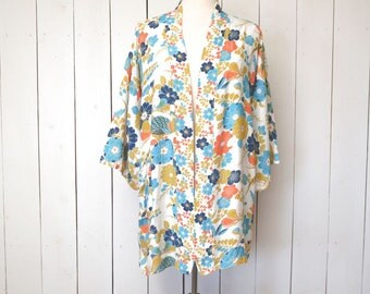 Short Kimono Robe Hippie Boho 1960s Vintage Japanese Floral Peacock Print Cover Up Fits Most