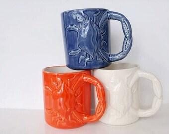 Cancer Zodiac Crab Beach Mug Handmade Fun Coffee Mugs from my Charleston, SC Studio