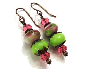 Pink & Green Lampwork Earrings, Pink Earrings, Pink Lampwork Earrings, Brass Earrings, Green Earrings, Lampwork Jewelry, Crystal Earrings