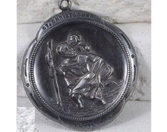 Saint Christopher Protect Us Vintage Sterling Religious Medal Pendant Jewelry on 18 inch sterling silver rolo chain