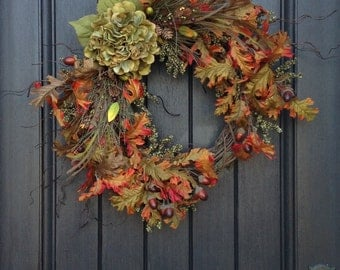 Fall Wreath-Autumn Wreath Berry-Twig-Holiday Wreath- Grapevine Door Decor-Fall Decor-Fall Leaves-Monogrammed Decoration-Wispy Wreath