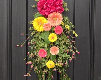 "Spring Wreath Summer Wreath Teardrop Door Swag Vertical Decor...""Spring Daisies"""