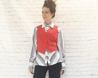 Vintage 60s Mod Red Vest Top Waiscoat Pockets Cropped M L