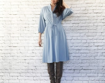 Vintage 70s Light Blue Shirt Dress XL Dolman Sleeve Knee Length