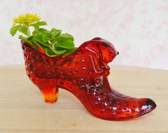 Vintage Red and Orange Glass Slipper Shoe with Cat's Head by Fenton