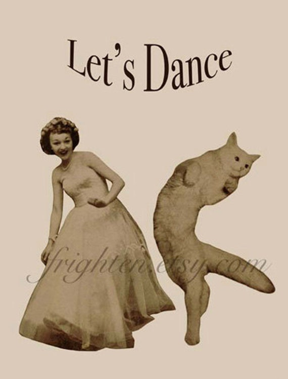 Whimsical Retro White Cat and Woman Dancing Paper Collage Let's Dance Wall Art Print
