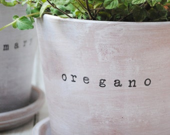 Whitewashed Farmhouse Flower Pot & Saucer with Customized Wording