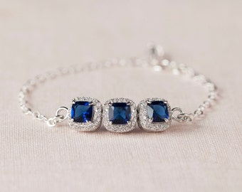 Crystal Bangle Bracelet, Blue or Clear Crystal Wedding Bracelet, Bridesmaid Bracelet, Bridesmaid Jewelry, Molly Simple Bridal Bracelet