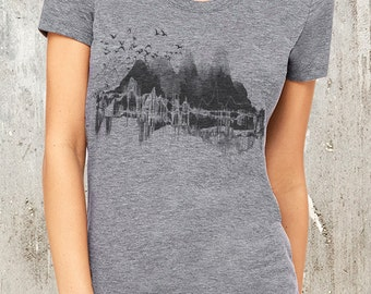 Nature Mountains & Topography - Women's Tri Blend T-Shirt - American Apparel - Available in S, M, L and XL