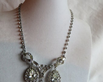 "Vintage 15"" Cubic Zirconia Necklace with Matching Earrings"