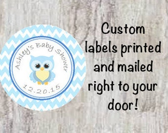 Baby Shower Printed Blue Owl Round Party Stickers for Party Favors - Blue Owl Chevron Labels  **Discounts Available
