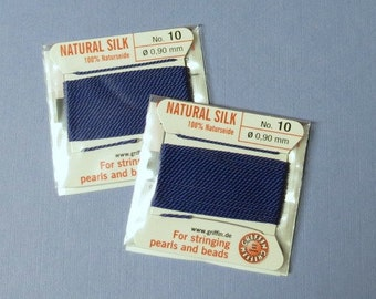 Natural Silk Cord With Needle - 2 packs - Size 10 - Dark Blue