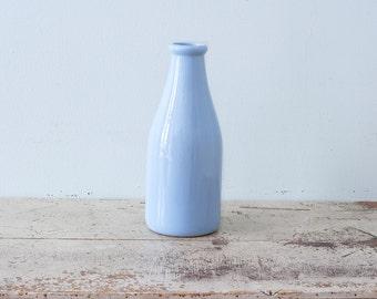 Vintage Blue Pottery Milk Bottle Large - Beauceware Beauce Quebec Canada