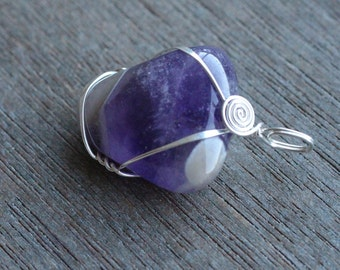 Amethyst Sterling Silver Wire Wrapped Pendant #5654