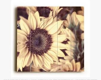 Wood Sign: Sunflowers Wood Plank, Autumn Decor, Nature Photography, Fall Art.
