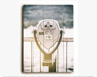 Wood Sign: Viewfinder Wood Plank, Lake George, Travel, Retro, Gray, Industrial, Vintage, Mid-Century Decor, Lake Photography.