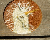 Miniature Dollhouse Unicorn  Rug Hooked Handmade Vintage Carpet Round Brown Gold White Circular Colorado