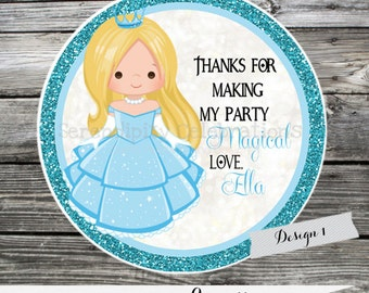 Set of 12 Personalized Favor Tags -Princess -Thank You Tag -Gift Tag -Baby Shower -Birthday-Sticker-Cinderella -Cinderella Birthday
