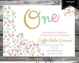 Birthday Invitation, Confetti Invite, Baby Shower Invitation, 1st Birthday, Printed Invitation, Mint, Pink,  Gold, Glitter, Polka Dots