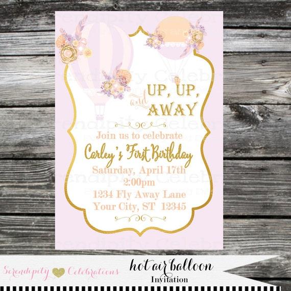 Hot air balloon invitation birthday invite baby shower invitation il570xn filmwisefo