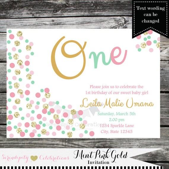 birthday invitation confetti invite baby shower invitation 1st