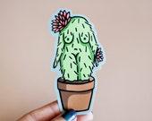 Feminist Vinyl Sticker- Illustrated Cactus Girl Weatherproof Decal