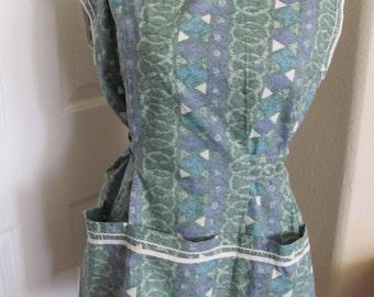 Vintage Ladies Green Cotton Full Apron (TL05)