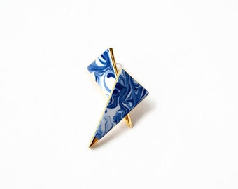 Blue marbled stud post earrings - porcelain and gold jewelry - porcelain long triangle earrings