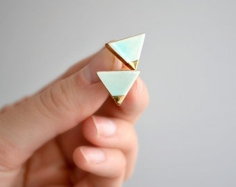 Triangle - gold tip mint triangle earrings - geometric ceramic earrings posts studs - Jasmin Blanc jewelry