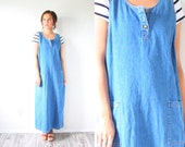 Vintage long jean overall dress // jean overalls // pocket blue jean dress // boho summer dress // fitted jean dress // fitted overall dress