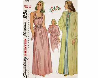 1940s Nightgown and Negligee Glamorous Old Hollywood WWII Vintage Sewing Pattern Peignoir Simplicity 1798 Nightgown and robe Size 12 Bust 30